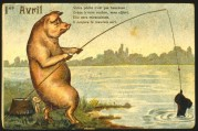 A pig fishing catches an old boot