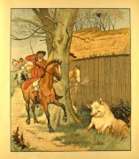 A pig startles a hunter on his horse