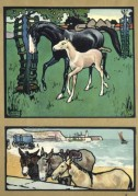 Farmyard and seaside scenes featuring horses