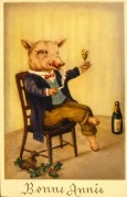 A Well Dressed Pig Celebrates New Year