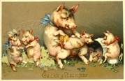 A Pig Family New Year Card