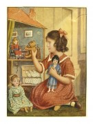 A child plays with her dolls and dollhouse