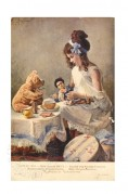 A child has a tea party with her doll and teddy bear