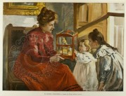 A mother shows her children a canary in a cage