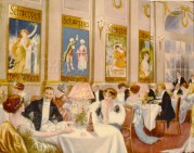 Dining room showing Schweppes adverts on the wall