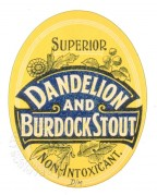 Label for Dandelion and Burdock Stout