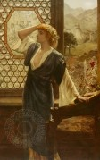 Pre Raphaelite style painting medieval costume and room setting