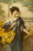 Roman woman selling yellow daisies Classical Roman setting