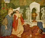 Allegorical painting love and death in medieval court gardens