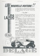 Advert for La D.6 Car by Delage