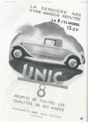 Advert for Unic Cars