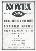 Advert for Ford Dealer, Novex