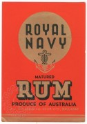 Royal Navy Matured Rum label