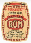 Tea Gardens Hotel Rum label