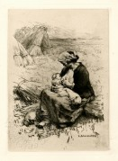 Detailed etching of a peasant woman in a field breastfeeding her child