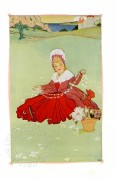 Illustration using flat colour of girl in red dress, daisy chain