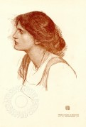 Head and shoulders portrait of woman- study in sanguine