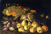 Still life with pears and a basket of grapes