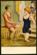 Postcard of three bathing women