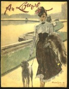 A woman walks her dog by the river Loire