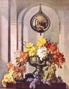 Flower arrangement in a sliver vase