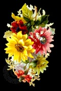 Flower Arrangement on a Black Background