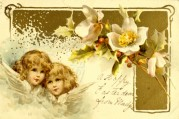 Two Girls on an Easter Card