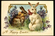 Two Rabbits on an Easter Card