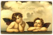 Two Angels on an Easter Card
