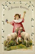 Two Lambs and a Girl on an Easter Card