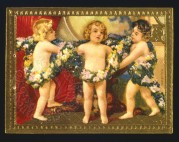 Three cherubs in a garland of flowers