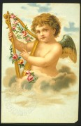 A cherub playing a harp