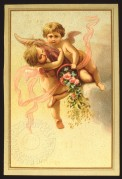 Two cherubs with a horn of flowers