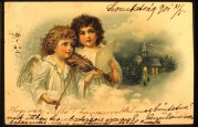 Two singing angels on a postcard