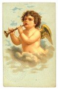 Cherub playing a trumpet