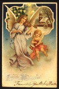 Musical angels on a German Christmas card