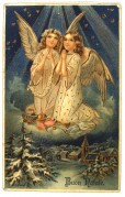 Two angels on a Christmas card