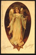 Angel with a harp on a Christmas card