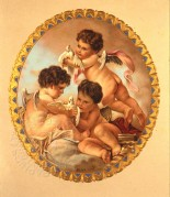 Three framed cherubs with doves