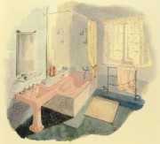 Illustration of a pink bathroom