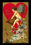 A Valentines card with a winged cherub