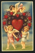 Valentines card with cherubs