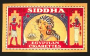 Label for Siddha Egyptian Cigarettes