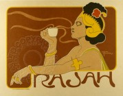 Cafe Rajah illustration for coffee published in Paris in sepia colours