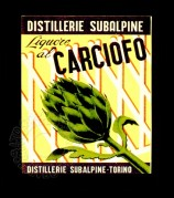 Italian label for Artichoke Liqueur