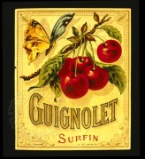 French label for Guignolet fruit syrup