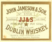 Label for John Jameson & Son Dublin Whiskey