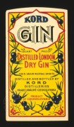 Label for Kord Distilled London Dry Gin