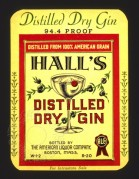 Label for Hall's Distilled Dry Gin