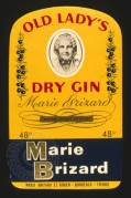 Label for Old Lady's Dry Gin by Marie Brizard